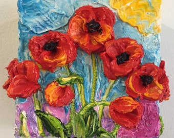 Red Poppies 4 by 4 by 1 1/2 Original Impasto Oil Painting by Paris Wyatt Llanso