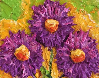 Purple Mum 4 by 4 by 1 1/2 Original Impasto Oil Painting by Paris Wyatt Llanso