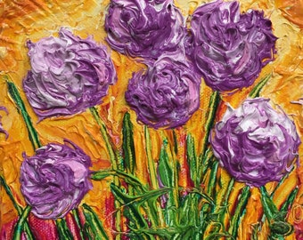 Purple Cives 6x6 Inches Original Impasto Oil Painting by Paris Wyatt Llanso