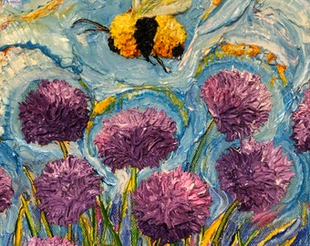 Bee Buzzing Chives 9 by 12 by 1 1/2 Inch Original Oil Painting by Paris Wyatt Llanso FREE SHIPPING