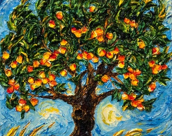 Peach Tree 12 by 16 by 1 1/2 Inch Original Impasto Oil Painting by Paris Wyatt Llanso