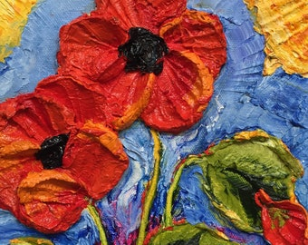 Red Poppies 8 by 8 by 1 3/4inches Original Impasto Oil Painting by Paris Wyatt Llanso
