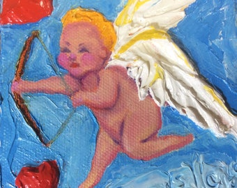 Cupids Bow 4x4 Inches Original Impasto Oil Painting by Paris Wyatt Llanso
