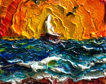 Let's Sail Away Together 2 by 2 inch Original Impasto Oil Painting by Paris Wyatt Llanso