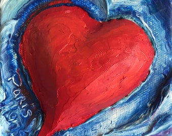 My Heart 4 by 4 Inch deep Original Impasto Oil Painting by Paris Wyatt Llanso