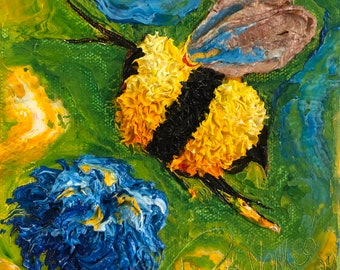 Bee Peace 6 by 6 Inch Original Oil Painting by Paris Wyatt Llanso FREE SHIPPING