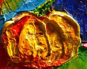 Pumpkin 2x2 Original Impasto Oil Painting by Paris Wyatt Llanso