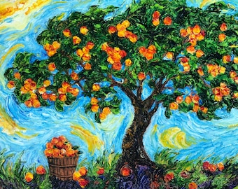 Peach Harvest 12 by 16 by 1 1/2 Inch Original Impasto Oil Painting by Paris Wyatt Llanso