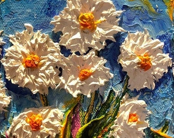 sunny little daises 4 by 5 by 1 1/2 Inches Original Impasto Oil Painting by Paris Wyatt Llanso