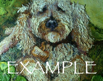 Custom Order for 10x10 Pet Portrait Original Impasto Oil Painting by Paris Wyatt Llanso