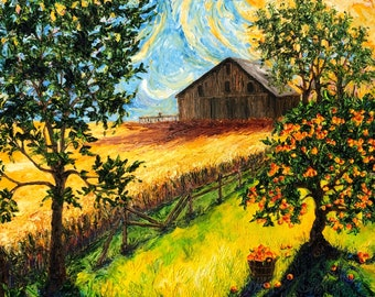 Summer Harvest  24 by 30 by 1 1/2 Inch Original Impasto Oil Painting by Paris Wyatt Llanso