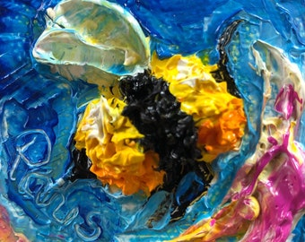 Bee Happy 2x2 Original Impasto Oil Painting by Paris Wyatt Llanso