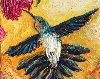 Hummingbird Bliss 8 by 8 Inch Original Impasto Oil Painting by Paris Wyatt Llanso