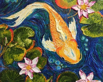 Koi in Water Lilies 36 by 36 by 1 3/4 Inch Original Impasto Oil Painting by Paris Wyatt Llanso