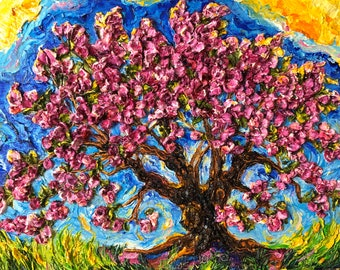 Crabapple Tree 11 by 14 by 1 1/2 Inch Original Impasto Oil Painting by Paris Wyatt Llanso