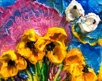 Yellow Poppies and Cabbage White 2 by 2 inch Original Impasto Oil Painting by Paris Wyatt Llanso