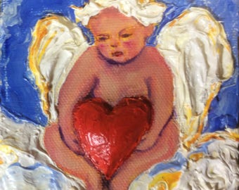 Valentine's Cupid 4x4 Inches Original Impasto Oil Painting by Paris Wyatt Llanso