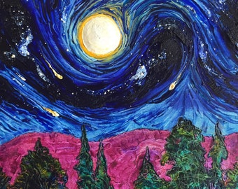 Full Moon 20 by 20 by 1 3/4 Inch Original Impasto Oil Painting by Paris Wyatt Llanso