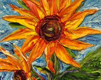 Sunflowers 10 by 10 by 3 inches Original Impasto Oil Painting by Paris Wyatt Llanso