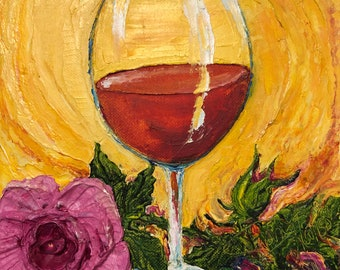 Rose Wine 8 by 8 by 1 1/2 Fine Art Impasto Oil Painting by Paris Wyatt Llanso
