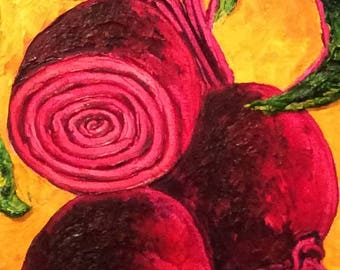 Large Red Beets 10 by 30 Inch Original Impasto Oil Painting by Paris Wyatt Llanso