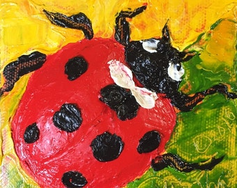 Lady Bug 5x5 Inch Original Impasto Oil Painting by Paris Wyatt Llanso