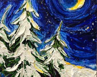 Snowy Pines under moon 8 by 10 by 1 1/2 Inch Original Impasto Oil Painting by Paris Wyatt Llanso