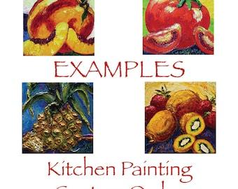 Kitchen Custom Order for 12x12 Original Impasto Oil Painting by Paris Wyatt Llanso