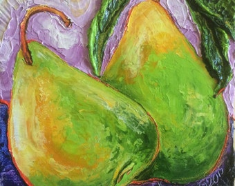 Pears Two Green 8x8 Inch Original Oil Painting by Paris Wyatt Llanso FREE SHIPPING