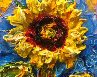 Sunflower 2x2 Original Impasto Oil Painting by Paris Wyatt Llanso