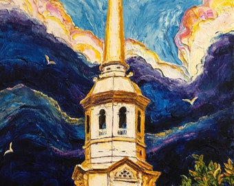 Holy Trinity Lutheran Church 24 by 30 by 1 1/2 Inch Original Impasto Oil Painting by Paris Wyatt Llanso