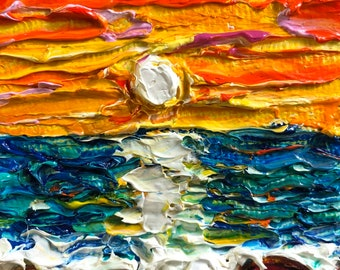 It's a new day 2 by 2 inch Original Impasto Oil Painting by Paris Wyatt Llanso