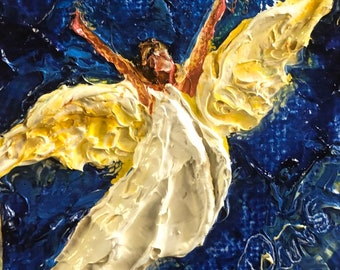 Angel 2 by 2 inch Original Impasto Oil Painting by Paris Wyatt Llanso