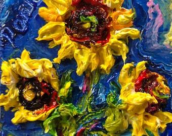 Three Sunflower 2x2 Original Impasto Oil Painting by Paris Wyatt Llanso