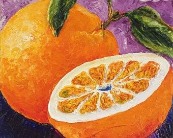 Orange 10x10 Inch Original Impasto Oil Painting by Paris Wyatt Llanso