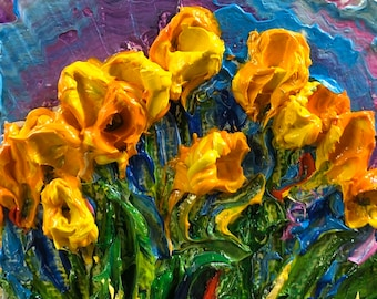 Yellow Tulips 2 by 2 inch Original Impasto Oil Painting by Paris Wyatt Llanso