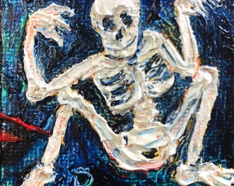 Skeleton Halloween mini 2x2 Original Impasto Oil Painting by Paris Wyatt Llanso