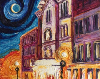 Night at the Theater 16 by 20 by 1 3/4 Inch Original Impasto Oil Painting by Paris Wyatt Llanso