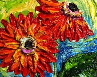 Orange Gerber Daisy  5x5 Original Impasto Oil Painting by Paris Wyatt Llanso
