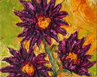 Purple Mum 6x6 Inches Original Impasto Oil Painting by Paris Wyatt Llanso