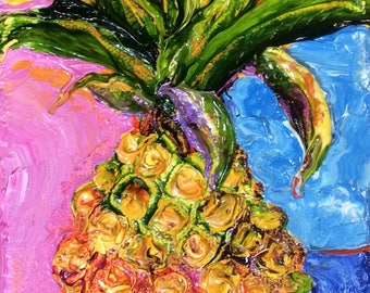 Tropical Pineapple 4 by 6 Inch Original Impasto Oil Painting by Paris Wyatt Llanso