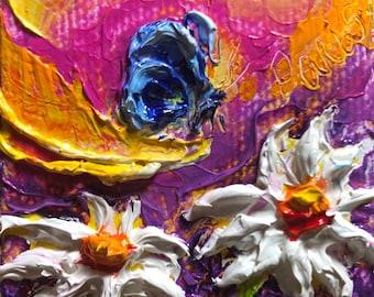Blue Butterfly Daisies 2x2 Original Impasto Oil Painting by Paris Wyatt Llanso