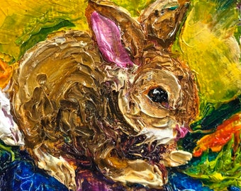 Wild Bunny 2x2 Original Impasto Oil Painting by Paris Wyatt Llanso