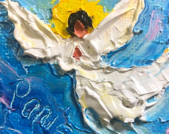 Angel 2 by 2 inch Original Impasto Oil Painting by Paris Wyatt Llanso