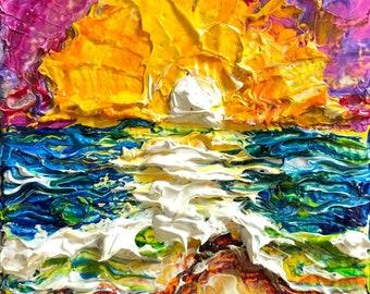 Fresh Start 2 by 2 inch Original Impasto Oil Painting by Paris Wyatt Llanso