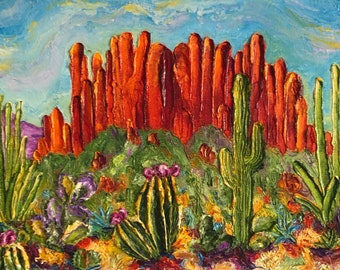 Arizona Desert 10 by 20 by 1 1/2 Inch Original Impasto Oil Painting by Paris Wyatt Llanso