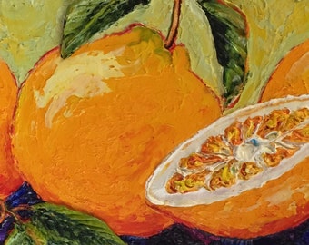Three Oranges and Bits 8x24 Inch Original Impasto Oil Painting by Paris Wyatt Llanso