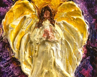 Calling all Angels 2 by 2 inch Original Impasto Oil Painting by Paris Wyatt Llanso
