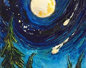 Full Moon and Falling Stars 8 x 16 by 1 3/4 Inch Original Impasto Oil Painting by Paris Wyatt Llanso