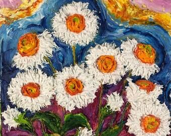White Daisy  8x8 Inch Original Impasto Oil Painting by Paris Wyatt Llanso